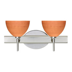 Besa Lighting - Besa Lighting 2SW-4679CH Brella 2 Light Reversible Halogen Bathroom Vanity Light - Brella has a classical bell shape that complements aesthetic, while also built for optimal illumination. Our Cherry glass is a soft off-white cased glass that is handcrafted with spiraling strokes of dark red, emphasizing the subtle brush pattern. The reddish rippled design is subdued and harmonious. Unlit, it appears as simply a textured surface like wood grain, but when lit the texture comes alive. The smooth satin finish on the clear outer layer is a result of an extensive etching process, with the texture of the subtle brushing. This blown glass is handcrafted by a skilled artisan, utilizing century-old techniques passed down from generation to generation. The vanity fixture is equipped with decorative lamp holders, removable finials, linear rectangular housing, and a removable low profile oval canopy cover.Features: