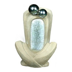 YOSEMITE HOME DECOR - Double Headed Rock Fountain - Double Headed Rock Fountain The natural granite look of this fountain is complemented by the illuminated water falling down the ridged center. This fountain is made of polyresin and is lighted by LED lights. It is approved for indoor or outdoor use.