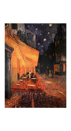 "Oriental Furniture - Cafe Terrace on the Place du Forum Canvas Wall Art - The full title is ""The Cafe Terrace on the Place du Forum, Arles at Night"", painted in September of 1888. One of Vincent Van Gogh's most beautiful paintings, a masterpiece of color, geometry, composition and spatial relationships. No matter how long or how often one sees it, there's more to see."