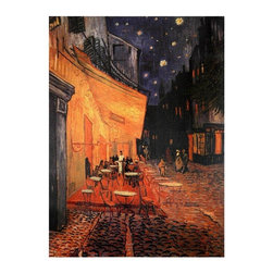"""Oriental Furniture - Cafe Terrace on the Place du Forum Canvas Wall Art - The full title is """"The Cafe Terrace on the Place du Forum, Arles at Night"""", painted in September of 1888. One of Vincent Van Gogh's most beautiful paintings, a masterpiece of color, geometry, composition and spatial relationships. No matter how long or how often one sees it, there's more to see."""