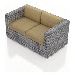 Harmonia Living - Urbana Modern Outdoor Loveseat, Weathered Stone Wicker, Heather Beige Cushions - The Harmonia Living Urbana Rattan Patio Loveseat with Tan Sunbrella cushions (SKU HL-URBNWS-LS-HB) features clean lines, premium synthetic wicker and brushed aluminum feet, giving your outdoors a fantastic modern look. The High-Density Polyethylene (HDPE) wicker is infused with a Weathered Stone and UV treatment, creating long-lasting color that is fade-resistant and cannot be stripped off. Underneath the wicker is a sturdy, thick-gauged aluminum frame that is powder coated, making it incredibly corrosion resistant. The outdoor wicker seats are reinforced to prevent excessive wicker stretching, ensuring you and your guests can sit securely each time. The sofa includes seat and back cushions covered in fade- and mildew-resistant Sunbrella fabric, which is available in Canvas Heather Beige.