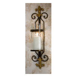 Dessau Home - Fleur De Lis Candle Sconce with Rain Glass And Brass Medallion, Set of Two - - 24H 5W 5D   - Please note - candle not included - Accessories not included Dessau Home - ME2219