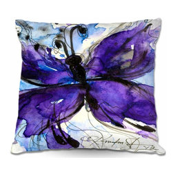 DiaNoche Designs - Pillow Woven Poplin - Butterfly Song IV - Toss this decorative pillow on any bed, sofa or chair, and add personality to your chic and stylish decor. Lay your head against your new art and relax! Made of woven Poly-Poplin.  Includes a cushy supportive pillow insert, zipped inside. Dye Sublimation printing adheres the ink to the material for long life and durability. Double Sided Print, Machine Washable, Product may vary slightly from image.