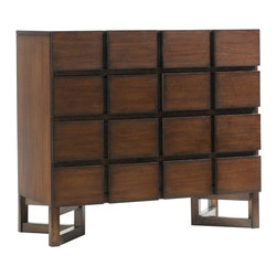 Lexington - Lexington 11 South Cassina Hall Chest - Create the notion of modern sophistication with the Cassina Hall Chest. The chest features a grid-like block appearance along the drawer fronts, adding an element of depth and dimensional texture. Behind the block design are eight drawers, of which the top two drawers incorporate drop-fronts for media component storage. With so much useful storage space, this hall chest will make a lovely functional piece in your foyer, entryway, living room or dining room. The hall chest legs are supported by triangular leg supports and is crafted from select hardwoods with quartered walnut veneers in an Umbria finish of chestnut hues and gray undertones. The unique design of the triangular base legs gives it that final touch of contemporary design with its architectural influences.