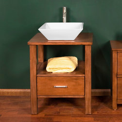 "24"" Southcrest Console Vanity - Make a bold statement with this striking console Vanity. It is made of solid wood and features a sleek, open design with an angled, ceramic sink."