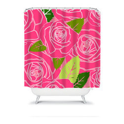 Shower Curtain Flower Pink Lime Hunter 71x74 Bathroom Decor Made in the USA - DETAILS: