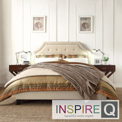 Inspire Q - Inspire Q Esmeral Beige Linen Button Tufted Arched Bridge Upholstered Bed - Esmeral Collection bring in Arched Bridge Top curves are defined by nickel nailheads trimming, adding the elegance looks and class to this furniture pieces.