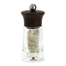 """Peugeot - Peugeot Vendome Chocolate - Acrylic - Beech Wood Wet Salt Mill 14cm/5.5"""" - Available in 2 Colors: Natural, and Chocolate"""