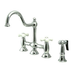 """Kingston Brass - Polished Chrome 8"""" Deck Mount Kitchen Faucet with Brass Sprayer KS3791PXBS - This faucet consists of stylish, immaculate body work and a traditional look compliant to those who desire the classic style design. The faucet has a double handle deck mount setup and features an 8"""" centerset platform. The body is fabricated from solid brass for durability and long-lasting use. The color finish is made of polished chrome for that reflective shine, as well as resisting scratches, corrosion and tarnishing. The spout rotates 360 degrees for accessibility and convenience. The handle acts as a 1/4-turn on/off water control mechanism for easy management of water volume and temperature.  The faucet operates with a ceramic disc valve for droplet-free functionality with the water measured 2.2 GPM (8.3 LPM) and a 60 PSI maximum rate.  An integrated removable aerator is inserted beneath the spout's head piece for conserving water flow. A 10-year limited warranty is provided to the original consumer. Brass sprayer included.. Manufacturer: Kingston Brass. Model: KS3791PXBS. UPC: 663370020957. Product Name: 8"""" Deck Mount Kitchen Faucet with Brass Sprayer. Collection / Series: Restoration. Finish: Polished Chrome. Theme: Classic. Material: Brass. Type: Faucet. Features: Includes Brass Sprayer"""