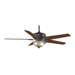 """Fanimation - Fanimation Keistone 60"""" Traditional Ceiling Fan X-AB8808DPF - The Keistone by Fanimation offers transitional style with a twist of sophistication. The soft Pewter or Bronze Accent finish is perfectly complemented by white linen glass and reversible Cherry/Walnut wood blades covering a 60 or 72-inch sweep. Two 75-watt halogen minican bulbs provide ample downward illumination for living spaces, dining rooms, bedrooms, and home entertainment areas. A good choice for saving energy, the Keistone consumes 70 percent less energy than a conventional ceiling fan thanks to its DC-powered motor. The flexibility of 6 forward and 6 reverse speeds allows you to choose just the right amount of air circulation. Sloped ceilings are no problem: the Keistone can be installed in ceilings with up to a 30 degree slope. A remote control is included (an optional wall control can be ordered). All Fanimation motors are protected by a limited lifetime warranty."""