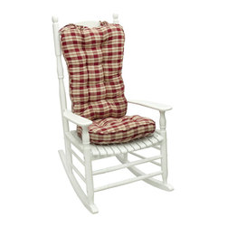 None - Red Plaid Jumbo Rocking Chair Cushion - Add a touch of country-style, rustic charm to your living space with this red plaid rocking chair cushion. This cushion is reversible for maximum versatility. It is made from durable polyester for easy cleaning and is soft and well-padded.