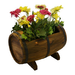 Pier Surplus - Wooden Whiskey Barrel Flower Planter #PL50021 - Beautify your yard, patio or workplace with our Planters! Planters are a perfect way to grow plants and flowers indoors and out. Our planters are plant safe and provide needed drainage in the bottom of the basin. So whether your growing your favorite flowers and plants or are just looking for some garden art, our planters are the perfect choice for you.