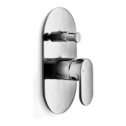 WS Bath Collections - Muci Built-In Shower Faucet with Diverter in Chrome - Muci 54242 Built in Mixer 4.3 x H 7.9, with Diverter, Bathroom Shower Mixer Includes Diverter Wall-Mounted, Made of Chromed Brass, Made in Italy