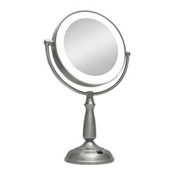Traditional Satin Nickel 10X Magnification LED Lighted Vanity Mirror
