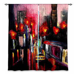 "DiaNoche Designs - Window Curtains Lined by Aja-Ann Faces of the City 145 - Purchasing window curtains just got easier and better! Create a designer look to any of your living spaces with our decorative and unique ""Lined Window Curtains."" Perfect for the living room, dining room or bedroom, these artistic curtains are an easy and inexpensive way to add color and style when decorating your home.  This is a woven poly material that filters outside light and creates a privacy barrier.  Each package includes two easy-to-hang, 3 inch diameter pole-pocket curtain panels.  The width listed is the total measurement of the two panels.  Curtain rod sold separately. Easy care, machine wash cold, tumble dry low, iron low if needed.  Printed in the USA."