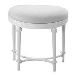 Hillsdale Furniture, Llc - Hillsdale Hampton Kidney Shape Vanity Stool - Classically styled with a cozy kidney-shaped seat, this vanity stool is an ideal addition to your dressing area and adds a valuable seat to any bathroom. The matte white finish of the beautifully curved legs complements the cream colored fabric seat.