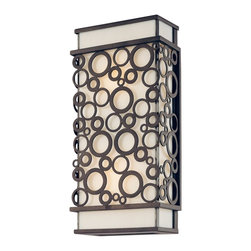 """Troy - Aqua Collection 14"""" High Outdoor Wall Light - The Aqua Collection of outdoor fixtures from Troy Lighting offers updated elegance. This bubbly design is created from hand-worked wrought iron. The appealing circle motif frame comes in a French iron finish. The fixtures glow behind white art glass for a warm inviting look. A refined design that's perfect for illuminating your outdoor spaces. Hand-worked wrought iron construction. French iron finish. White art glass. Takes two 60 watt bulbs (not included). 14"""" high. 6 3/4"""" wide. Extends 3 1/2"""" from the wall. 7"""" from mounting point to top.  Hand-worked wrought iron construction.   French iron finish.   White art glass.   Takes two 60 watt bulbs (not included).   14"""" high.   6 3/4"""" wide.   Extends 3 1/2"""" from the wall.   7"""" from mounting point to top."""