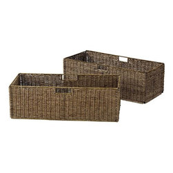 Home Decorators Collection - Large Seagrass Basket - Set of 2 - Our set of 2 Large Seagrass Baskets provides a stylish, natural way to organize your office or craft supplies. Each woven basket features a handle on either side for easy carrying. Seagrass provides a natural look. Fits inside the open shelves of our Montaigne Bookcase.
