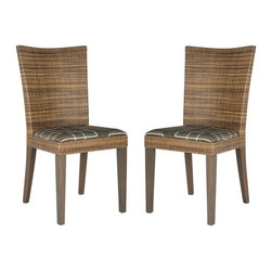 Safavieh - Gilmore Side Chair - La Dolce Vita. Inspired by photos found in an abandoned Italian palazzo, the set of Gilmore side chairs is a modern spin on Old World style. Their slightly curved rattan backs frame a brown patterned cushion sitting atop classically carved mahogany legs.
