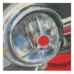 1952 Ford Truck Headlight, Original, Painting - This is an acrylic painting of a headlight on a gallery wrap canvas. My desire was to show the reflected light from daylight gleaming into the lamp and revealing facets of broken reflections.