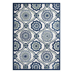 "Allure 4082 Ivory/Navy Mosaic Rug - Allure 4082 Ivory/Navy Mosaic 2'3"" x 7'6"" Runner. Hand-Tufted of 100% Polyester with Cotton Backing. Made in China. Vacuum regularly & spot clean stains. Professional cleaning recommended periodically."