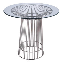 Fine Mod Imports - Libo Steel Wire Dining Table with Glass Top, 48x48x30 - Features: