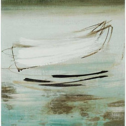 Paragon Decor - Canoe Artwork - Canvases are wrapped around wood stretcher bar and feature hand painted aqua sides with streaks.