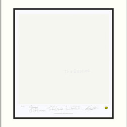 "Amanti Art - The Beatles: White Album (Album Cover) Framed Print - If you're a devout Beatles fan — and something of a minimalist — welcome the ""White Album"" to your decor. This limited edition print, beautifully matted and framed, bears the stamped signature of each band member."