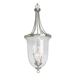 Progress Lighting - Progress Lighting P3754-09 6-Light Foyer Pendant with Clear Seeded Glass - Progress Lighting P3754-09 6-Light Foyer Pendant with Clear Seeded Glass