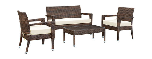 Modway - Stride 5 Piece Sofa Set in Brown White - Stride will keep your step every bit of the way, while granting a welcome reprieve from a calendar full of appointments, meetings, dates and get-togethers. The compact design and sleek lines coalesce into set brimming with dilatant flair. The comfy all-weather cushions, and mixed-color rattan weaving, are ready for you to breeze right in, and drink your beverage of choice among scenic heights and good friends.
