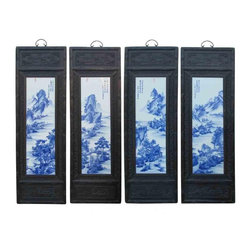 Golden Lotus - Chinese Wooden Framed Mountain Water View Porcelain Panel - This is four pieces a set porcelain painting wall decor panels. The blue and white part is made of porcelain and the frame is made of wood.