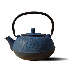 "Tetsubin Teapots - Unity® Cast Iron ""Osaka"" Teapot – Blue Finish.  An elegant, distinctly shaped Cast Iron Tetsubin teapot named after the beautiful and ancient city of Osaka, Japan.  Inspired by highly prized antique Japanese Cast Iron teapots still in use today. Features a Black Porcelain Enamel Interior Coating that helps prevent rust. Not intended for stovetop use. 20 Oz. capacity."