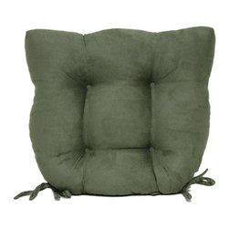 Brentwood Originals - Green Buckskin Tufted Chair Pad - Soften the seats of your wood and metal chairs with this stylish tufted pad. A rich color and delicate textures shape a soft, pleasant accent that will leave you sitting pretty for a long, cozy while.   15'' W x 16'' H x 3'' D Cover: 100% polyester Spot clean Imported