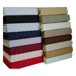 """Bed Linens - 600 Thread Count Egyptian Cotton Stripe Sheet Sets, Full, Linen Beige - 600 Thread count Sateen Stripe 100% Egyptian cotton, Sateen Weave. Deep pockets to fit up to 18"""" mattress Fitted made with elastic all around for proper fit. * Colors: White, Ivory, Taupe, Sage, Blue, Black, Burgundy, Navy, Linen, Lilac, Bronze, Gold, Blush, Pink"""