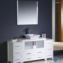 "Fresca - Fresca Torino 60"" Modern Bathroom Vanity w/ Two Side Cabinets & Vessel Sink - Wh - Fresca is pleased to usher in a new age of customization with the introduction of its Torino line. The frosted glass panels of the doors balance out the sleek and modern lines of Torino, allowing it to fit perfectly in both 'Town' and 'Country' décor.The Fresco Torino bathroom vanity is 60"" wide and 33.75"" high, and boasts 18.13"" deep under-sink storage space – perfect for towels and other bathroom necessities. This bathroom vanity is completed with a 31.5"" wide x 31.5"" high x 1.25"" deep wall mounted mirror for optimal function and style.Items included: Main Vanity Cabinet(s), Countertop(s), Vessel/Integrated Sink(s), Mirror(s), Faucet(s), P-Trap and Pop-Up Drain(s), Standard hardware needed for installation.DecorPlanet is proud to offer Fresca Bathroom products. Fresca is a leading manufacturer of high-quality vanities, accessories, toilets, faucets, and everything else to give you the freshest bathroom in the neighborhood. Fresca is known for carrying the latest and most popular styles in modern and contemporary bathroom design that are made with high quality materials and superior workmanship."
