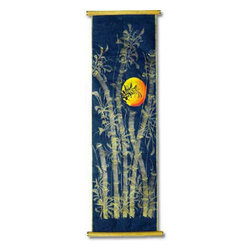 Oriental-Decor - Asian Sun on Saa Oriental Scroll - Decorate your room with this stunning scroll painting depicting an Asian sun rising through a thicket of bamboo. Scroll paintings were once the preeminent form of art in China. Now you can add a touch of the Orient to any room with this magnificent scroll painting.