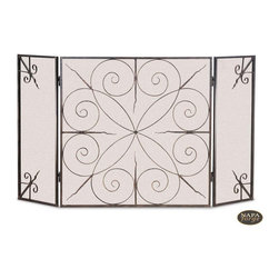 Elements Screen in Brushed Bronze - The sweeping, spiraling curves combine with straight, flame-like designs to make this bronze-finished fireplace screen from Napa Forge truly unique.