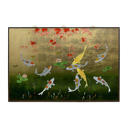China Furniture and Arts - Gold Leaf Prosperity Koi Fish Panel - This picture depicting nine swimming koi fish symbolizes prosperity and good luck in Chinese Feng Shui. The wooden panel is hand painted on gold leaf background with an elegant black border rounding out its quiet beauty. Matching brass hangers included.