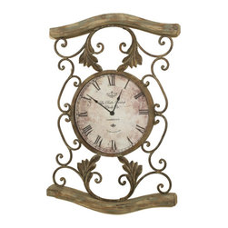 Welcome Home Accents - Driftwood Wall Clock - Scrolled oil rubbed bronze metal  driftwood wall clock. Clock has black roman numerals, and this clock has hooks on back for easy hanging. Batteries not included. Dust with a dry cloth. Made in China.