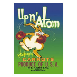 """Buyenlarge.com, Inc. - Up N' Atom California Carrots - Paper Poster 20"""" x 30"""" - This vegetable crate label was used on Up n' Atom Brand Carrots, c. 1950s: 'Up n' Atom Brand California Carrots. Produce of U.S.A. M.L. Kalich & Co. Main Office, Watsonville, Calif.' Crate labels were a frequent means of marketing fruit and vegetable packer brands at the turn of the century."""