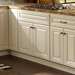 B.Jorgsen & Co. Victoria Ivory Kitchen Cabinets - Like a kitchen from a sunny and comfortable chateau in the French countryside with the benefits of modern technologies. The B.Jorgsen & Co. Victoria Ivory collection features soft closing drawers, high-quality European-style hinges, rugged multi-ply, all wood box construction, and solid wood frame, doors, and drawers. All drawers are crafted with dovetail joints.
