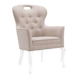 Kathy Kuo Home - Anais Hollywood Regency Acrylic Tufted Linen Dining Arm Chair - Soft and inviting Belgian linen offers your family and friends a tufted seat. A curved back and dramatic arms provide comfort and style. Clear acrylic legs disappear into your décor, giving the illusion that the seat is floating. Luxuriously light and versatile, this chair can accent any room in your home.
