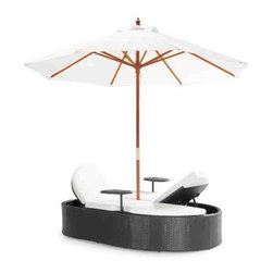 Hampton Bed by Zuo Modern - With a large umbrella and folding courtship seating makes for a fun bed or dual person lounge, includes two separate drink side stands. The weave is a UV treated synthetic with a re-inforced interior aluminum tube frame. The cushions are made of water resistant covers and foam. The umbrella is water resistant as well.