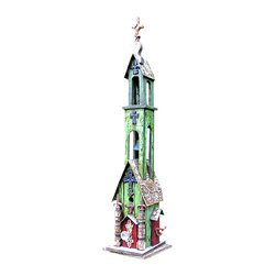 "Double Bell Church Birdhouse, Green - Another majestic piece in this vintage birdhouse collection, Double Bell Church Birdhouse stands 52"" tall."