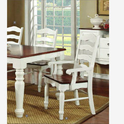 2 PC Country Cherry White Wood Dining Arm Chairs CM3122AC - Features