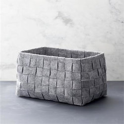 Small Woven Felt Bin - A classic basketweave design is reimagined in heathered grey felt, creating a soft, neutral statement in open storage. A natural in any room.100% polyester17.5-lb. capacityDry cleanMade in China