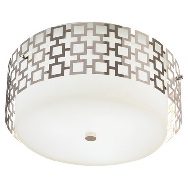 Robert Abbey - Jonathan Adler Parker Flushmount - Add mod style to your room with this light fixture. The perforated metal shade covers an opaque white glass shade, which looks great with both contemporary furniture and antiques.