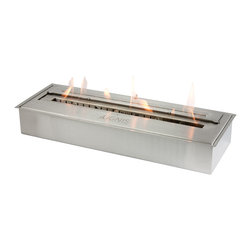 Ignis - EB2400 Ethanol Fireplace Burner - Whether you're looking for a cleaner, more eco-friendly way to heat your space or want to build your own fireplace, this EB2400 Ethanol Fireplace Burner Insert gets top billing. It holds seven liters of ethanol, which is enough to burn for a full eight hours to keep you toasty warm and comfortable all night long. Its ventless design means that you don't need a chimney, gas or electric lines, to get started using it right away. This insert offers an output of 16,000 BTUs, so it can heat a large area with ease. It is an attractive design that looks great in your existing fireplace, and it comes with a damper tool for added convenience. Capacity: 2 Liters. Approximate burn time - 2 hours per refill. Approximate BTU output - 18000. Double Layer.