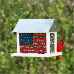 Avant Garden Patriot Bird Feeder - Infuse your backyard with pride and inspiration by hanging the Avant Garden Patriot Bird Feeder. Fantastically illustrated American flags decorate the sides of this colonial-themed feeder. Its large seed capacity and four feeding stations enable this traditional-style feeder to accommodate all of its loyal and steadfast avian friends.About WoodstreamA privately held company with a long-standing positive reputation Woodstream is a global manufacturer and marketer of quality products from pets and wildlife control and home and garden products to bird feeders and garden decor. They have a 150-year history of excellence growth and innovation and have built a strong presence in key markets through organic growth and strategic acquisitions. The growth of Woodstream is thanks to their customer-driven approach to product development a dedicated design organization that focuses on innovation quality and safety as well as a commitment to an industry-leading level of service.