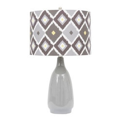 Printed Ceramic Lamp With Shade, Gray